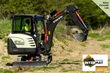 The EX2 is Volvo's 100 percent electric compact excavator prototype.
