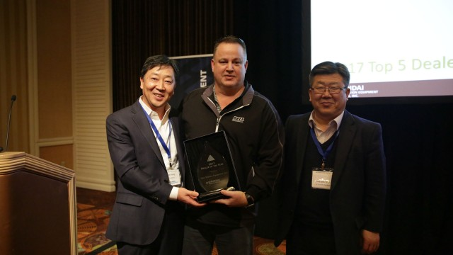 Hyundai presented its Dealer of the Year award to Four Seasons Equipment of Houston, Texas.