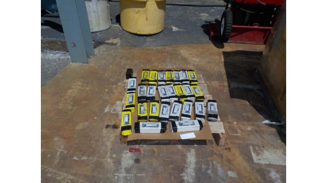 Lithium batteries that have made their way into the lead battery recycling process. These batteries were intercepted before they got into the breaker. Photos courtesy of RSR (Revere Smelting and Refining).
