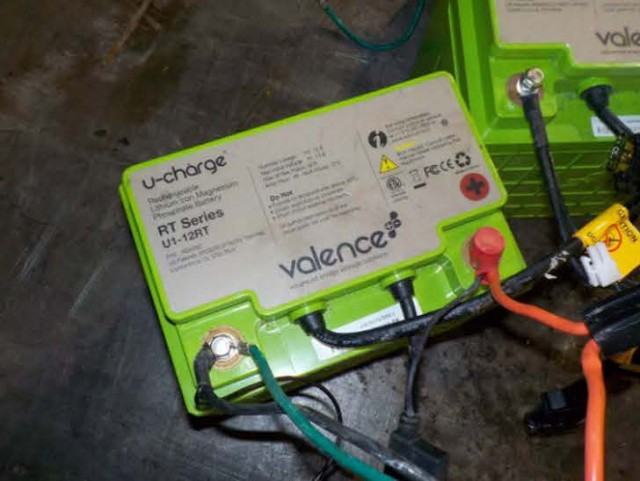 A lithium battery that has made its way to a lead battery recycler.
