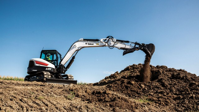 The E85 is the largest compact excavator from Bobcat.