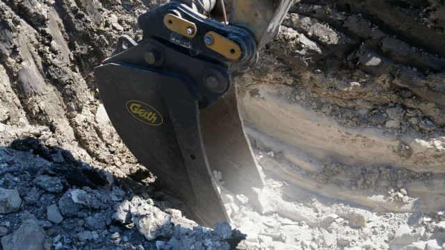 Geith's v-rock bucket is shaped for better penetration of materials.