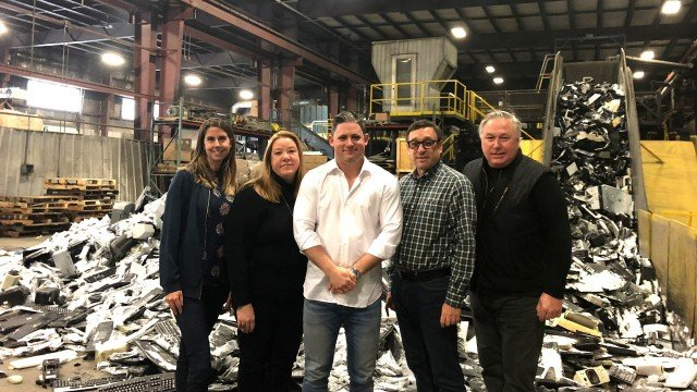 Part of FCM Recycling's team on the floor of their e-waste processing facility outside of Montreal.