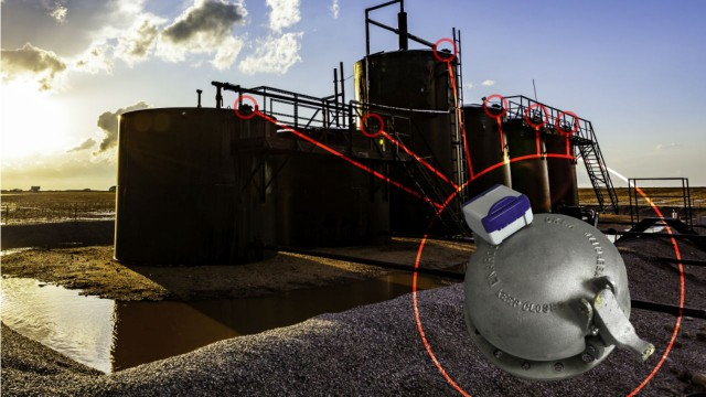 Wireless inclinometer from SignalFire monitors tank hatches and pump jack motion