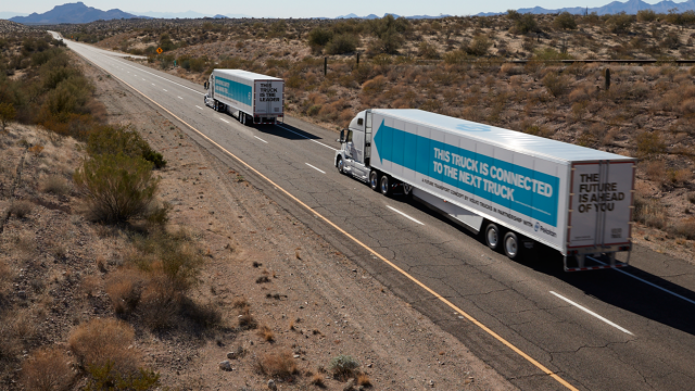 Platooning of trucks using various electronic means can reduce fuel use and speed up deliveries.