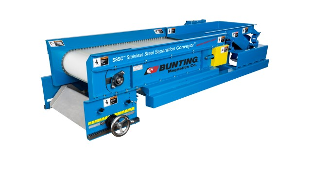 Bunting Magnetics Co. awarded patent for innovative magnetic circuit design used in its SSSC Stainless Steel Separation Conveyor