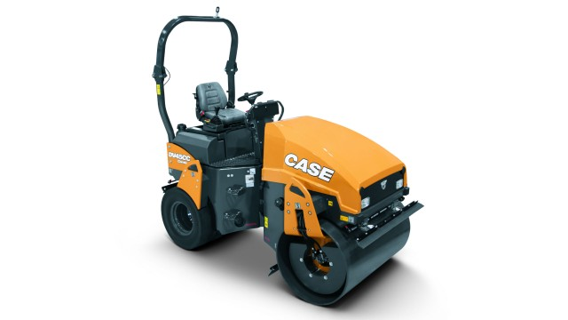 Case's DV45CC combination vibratory roller features an offset drum with tapered edge and high curb clearance that offers precision compaction capabilities in tight spaces.