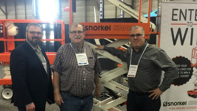 Brent Fillmore of Legacy Equipment (center) with CRA Alberta President, Warren Carriere (left) and Rhett Nickerson of Ahern Canada (right).
