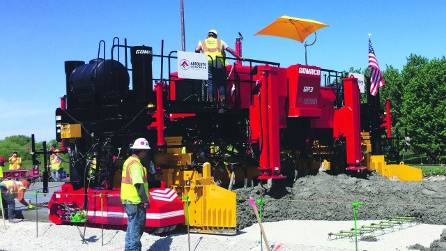Two-track GP3 paver from Gomaco slipforms up to 30 feet in width