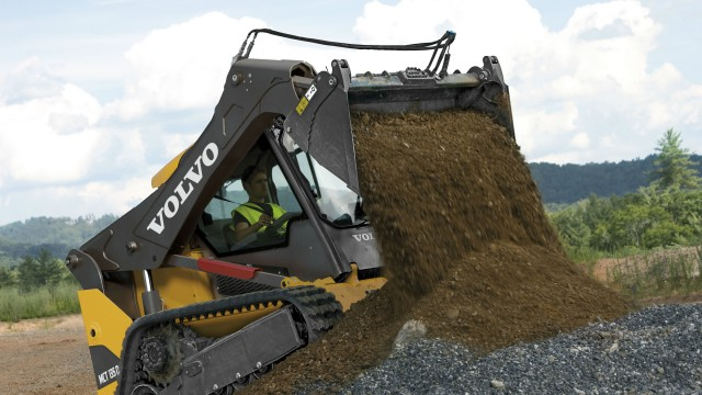 Volvo's D-Series skid-steer and compact track loaders are equipped with the next-generation curved single loader arm, built with 20 percent more steel than conventional models.