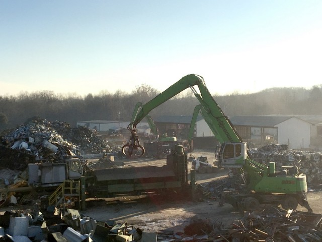 RMG's Sennebogen handler feeding the crusher.