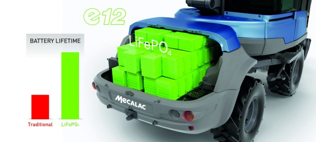 The battery compartment of the Mecalac e12 compact excavator.