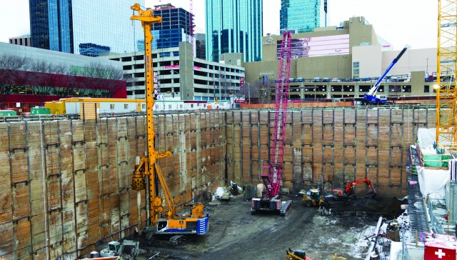 Bauer's biggest rig drills deep foundation in tricky conditions for Western Canada's tallest tower