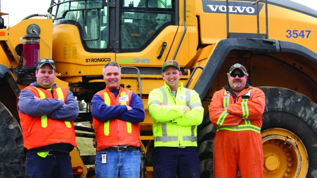 From left to right: Mike Mclean, site Lead Hand; Brian Kurt, Operations Supervisor; Kial Cummings, Heavy Equipment Operator; and Kevin Nowak, Fleet equipment maintenance mechanic support.
