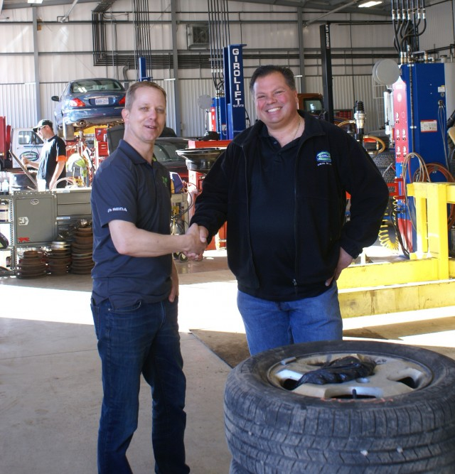 Bob Vanleeuwen from ELV Select and Denis Krajcar from Nicklin Auto Parts & Recyclers, inside Nicklin's new building.
