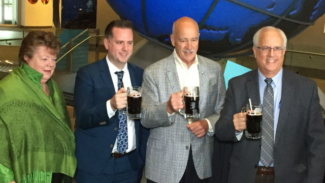 Toasting A&W's move to eliminate plastic straws are, from left: Richmond East MLA Linda Reid, A&W Director of Distribution, Equipment & Packaging Tyler Pronyk, Ocean Wise President & CEO John Nightingale, and Richmond MLA and National Zero Waste Council Chair Malcolm Brodie.