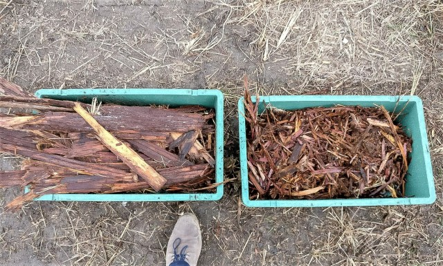 Bark material, before and after processing through the Allu Transformer hydraulic attachment.