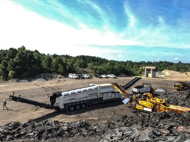 A CBI 5800BT horizontal grinder and an Ecotec Phoenix 3300 trommel are among five Terex machines employed by A-1 Sandrock.