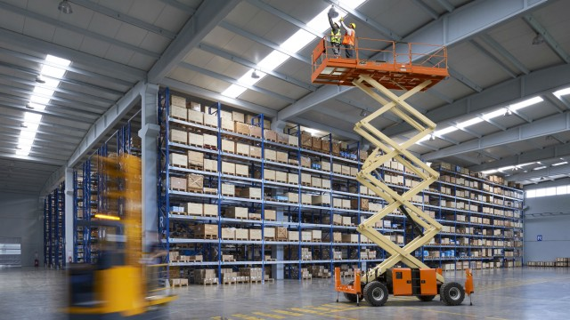 The updated JLG LRT series of scissor lifts can support larger loads with good gradeability and maneuverability on rough terrain.