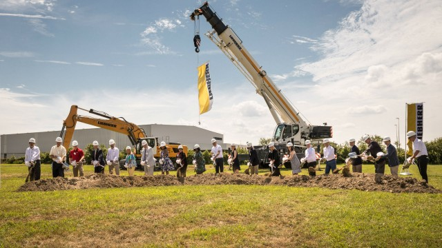 Community officials, Liebherr family members and representatives of the company were on hand for the groundbreaking of Liebherr's new headquarters in Newport News, Virginia.