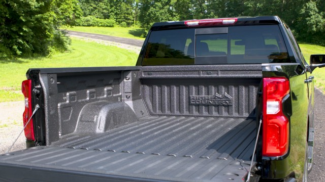 The Chevrolet Silverado's Durabed is larger and boasts 12 fixed tie-downs.