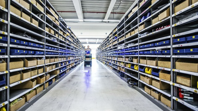 Volvo CE's EMEA warehouse of spare parts in Ghent, Belgium.