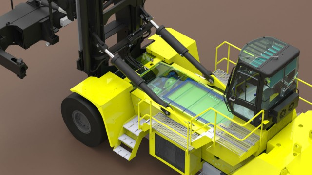 A concept image of Hyster's fuel-cell-powered container handler.