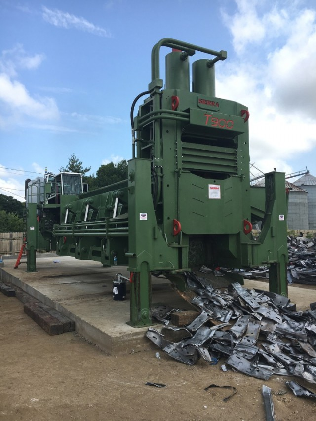 From our September 2018 Recycling Product News cover: Sierra International Machinery's T900 Shear/Baler/Logger.