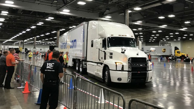 Drivers challenged the course in a Mack Anthem for the 2018 National Truck Driving Championships.