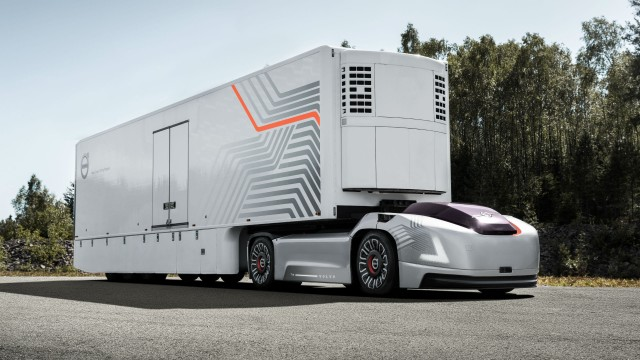 The transportation solution envisioned by Volvo Trucks centers around autonomous electric vehicles connected through the cloud to central hubs.