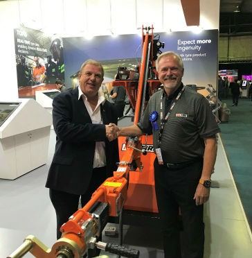 Eric Bruggemann, CEO SA Capital Equipment Export Council, and Peter Nilsson, innovation and R&D manager, Kal Tire's Mining Tire Group.