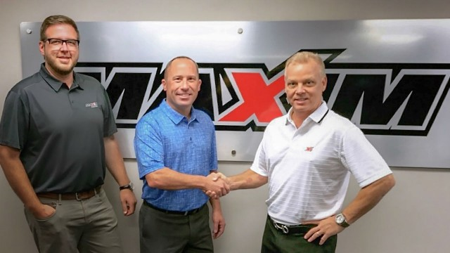 From left to right: Kevin Schultz, Vice President, Maxim Crane; Bob Krause, Regional Business Manager, Tadano America; Frank Bardonaro, Chief Operating Officer-Maxim Crane.