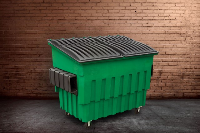 Plastic front-end load (FEL) containers are ideal for organic waste and in areas where corrosion or noise are concerns.