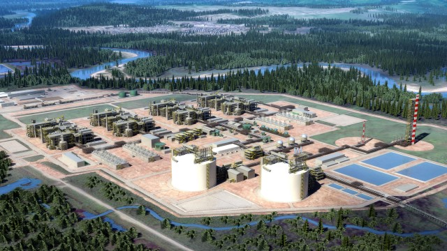 A rendering of the proposed LNG Canada site just outside Kitimat, BC.