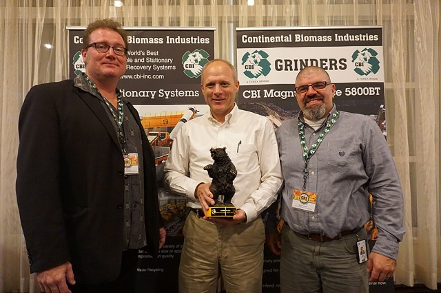 Jasen Stock of the New Hampshire Timberland Owners Association was awarded the 2018 Community Impact Award for his work on reversing a biomass bill veto.