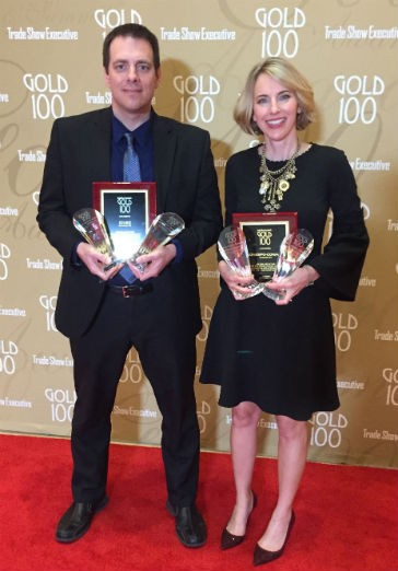 AEM's Steve Suhm and Sara Truesdale Mooney accepted multiple awards for CONEXPO-CON/AGG and ICUEE-The Demo Expo at the recent Gold 100 recognition ceremony.