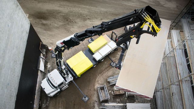 IMT's new 42684 hydraulic loader is designed to handle palletized material for the construction industry.