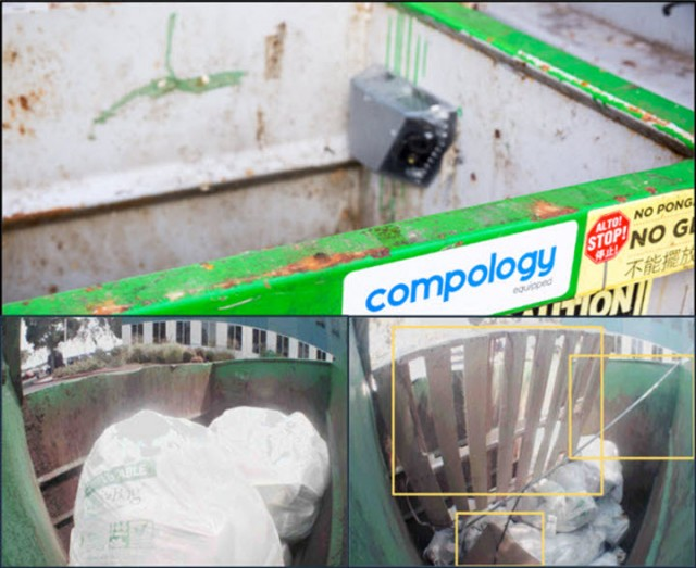 Compology's cameras automatically identify and measure contamination to provide standardized scoring, alerts, and reports to reduce contamination at the source.