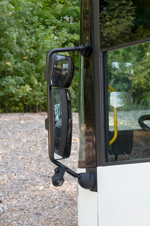 The enhanced mirror system provides superior visibility for drivers and an optional built-in camera system provides enhanced visibility in work areas and potential blind spots.