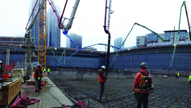 Ralph's Concrete Pumping supplied the concrete placing equipment to continuously place 13,400 cubic yards (10,245m³) of concrete in 16 hours for the first of two record-setting pours in Washington state.