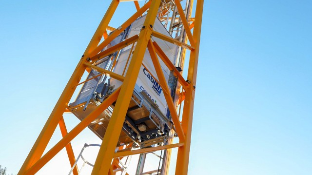 The Potain Cab-IN is the new internal mast operator lift from Manitowoc. It fits inside all K-mast systems and allows simultaneous ladder and elevator access to the crane.