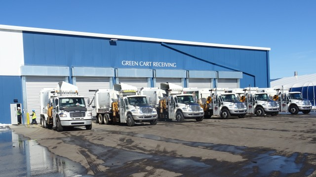 Green cart receiving outside the Calgary Composting Facility, Canada's largest in-vessel operation.