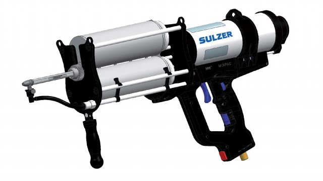Paired with the unique DPS Spray Dispenser for maintenance and repair projects, the complete MixCoat Spray system includes cartridges containing the packaged coating material, a mixer that ensures consistent coating mix, and the pneumatic operated spray.