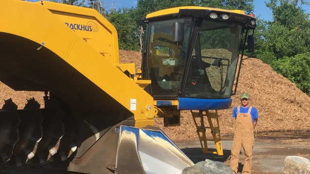 Kerry Weaver, operations manager at the City of Lexington's compost site with their new BACKHUS A60 tracked compost turner.
