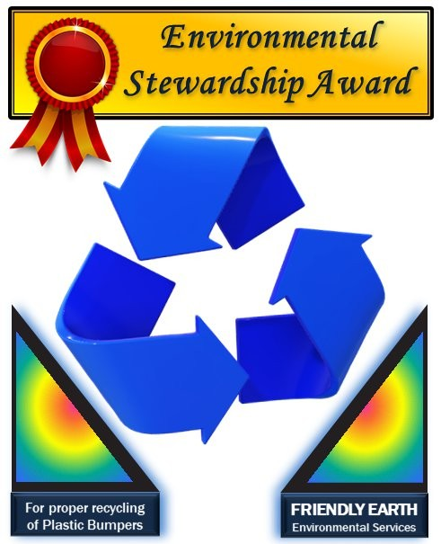 Friendly Earth's Environmental Stewardship sticker can be seen in the windows of participating automotive shops.