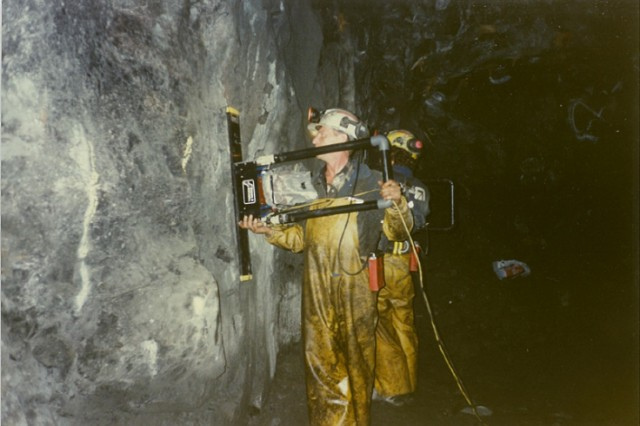 In the early days, multiVIEW focused on applying geophysical techniques to solve geotechnical and environmental challenges. Pictured here, Ground Penetrating Radar (GPR) is applied to image the side of a mining cave, circa early 90s.