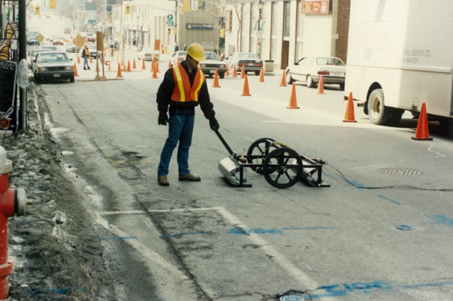 Over time, the application of geophysical techniques gained popularity within urban settings. Pictured here, multiVIEW supports road construction in Brampton, Ontario, 1993.
