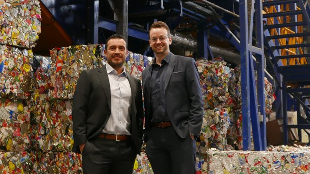 Stephen Miranda of Canada Fibers and Jonathan Ménard of Machinex at the Peel Integrated Waste Management Facility where the two companies are collaborating on a major retrofit in 2019.